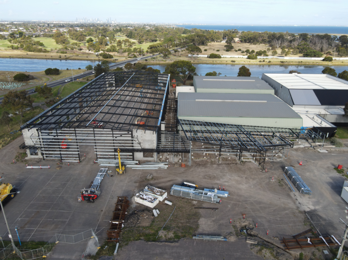 Altona Sports Centre new courts construction works with Laverton Creek in the background.png